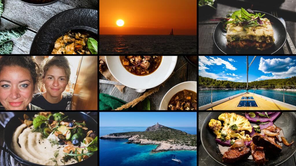 a batch of photos sailing perfect food and beautiful adriatic sea